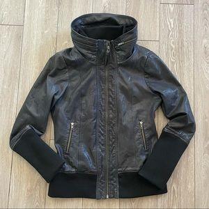 Mackage 'Elie' Leather Jacket w/ Jersey Hood